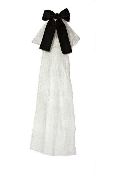Modern Queen Kids Royal Majesty girl's cape in ivory and black with over-sized fanciful bow and tulle train.