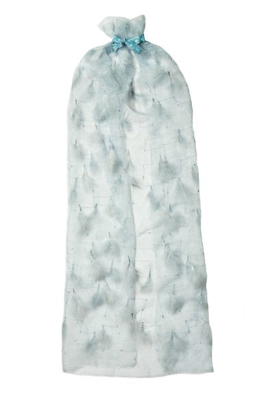 Modern Queen Kids Far Away Land girl's cape in pale blue with stunning sheer blue/grey feathers and collar bow with sparkling gem detail.