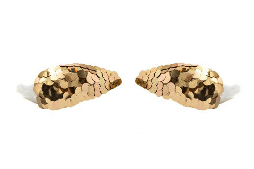 Modern Queen Kids Knightly Valor Wings In Gold with soft, white feather wings.