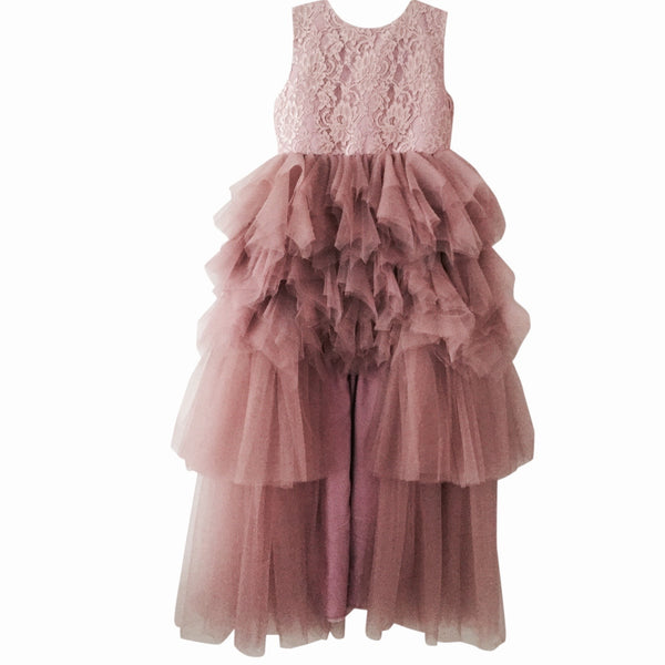 Front view of the Dolly by Le Petit Tom Daring High-Low Dress in Dusty Pink.