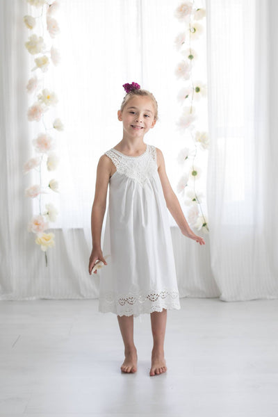 One Little Wildflower Boho Princess Dress in White