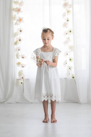 One Little Wildflower Boho LouLou Dress in White