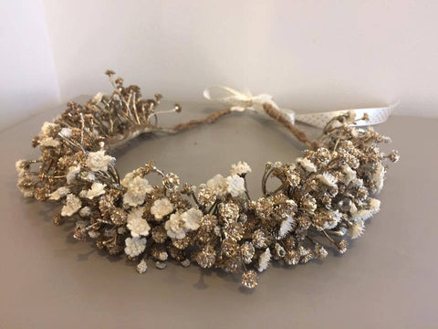 Amelia and Paprika lush halo filled with gold and cream baby's breath. Custom made for our shop and adjustable in size due to the tie back ribbons. One size fits most.