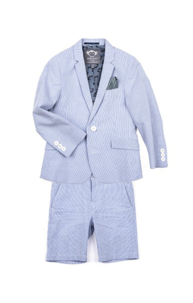 Appaman Suit Jacket In Blue Bengal Stripe