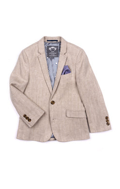 Appaman Boys Mod Suit Jacket In Khaki Herringbone
