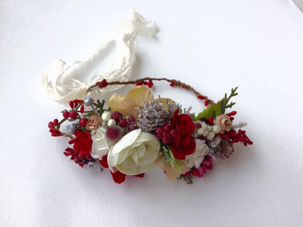 Avry Couture Creations Red Acorn Floral Halo