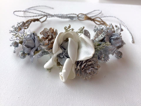Avry Couture Creations Silver Floral Halo