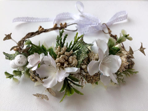 Avry Couture Creations Greenery and White Floral Halo