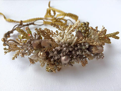 Avry Couture Creations Gold Floral Halo