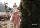 Little girl wearing the DOLLY by Le Petit Tom Ballet Dress In Dusty Pink.
