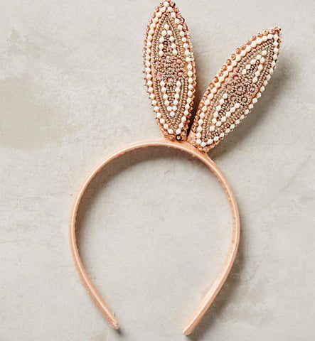 Bedazzled Bunny Ears Headband in Peach and Cream