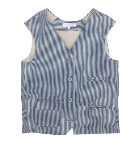 Blu Pony Vintage vest in denim. Perfect for vintage photo shoots and special occasions.