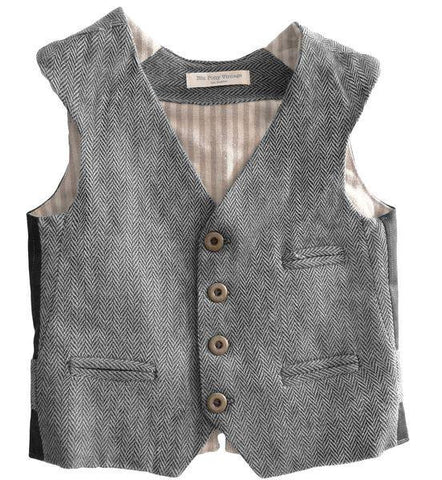 Blu Pony Vintage Erik herringbone vest in grey. Perfect for vintage photo shoots and special occasions.