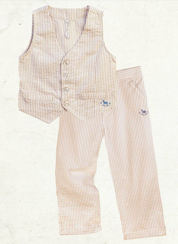 Blu Pony Vintage SJ striped vest and pants in cream. Perfect for vintage photo shoots and special occasions.