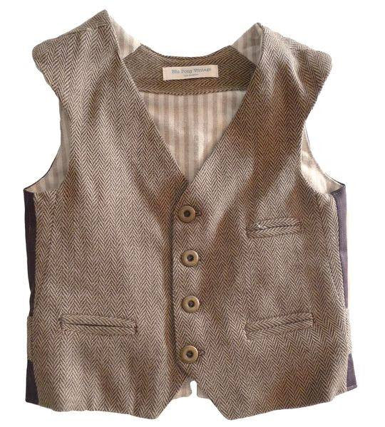 Blu Pony Vintage herringbone vest in tan. Perfect for special occasions and vintage photo shoots.