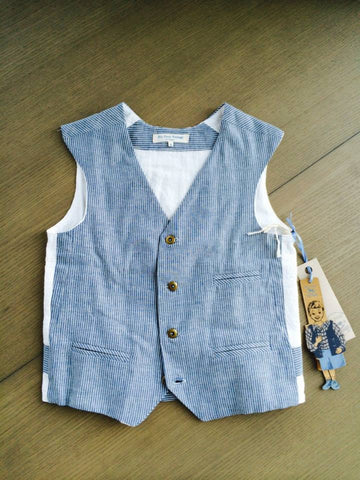 Blu Pony Vintage vest in blue denim pinstripe and linen. Perfect for vintage photo shoots and special occasions.