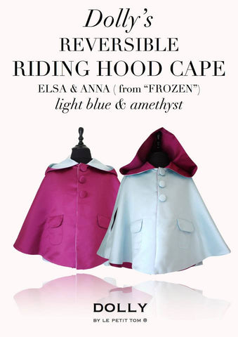 DOLLY by Le Petit Tom ® REVERSIBLE RIDING HOOD CAPE Princess Elsa & Princess Anna from 'Frozen'.    Stunning reversible Cape with LIGHT BLUE ( Princess Elsa)  on one side and AMETHYST PURPLE ( Princess Anna) on the other side. Available for rent from The Borrowed Boutique.