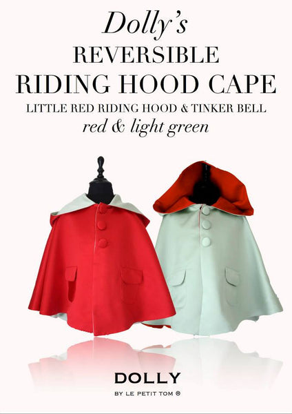 DOLLY by Le Petit Tom ® REVERSIBLE RIDING HOOD CAPE Little Red Riding Hood & Tinker Bell.  Stunning reversible Cape with RED ( Little Red Riding Hood) on one side and LIGHT GREEN ( Tinker Bell) on the other side. Available for rent from The Borrowed Boutique.