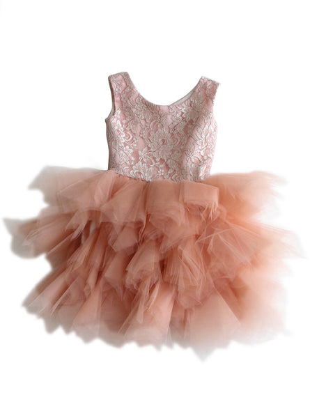 DOLLY by Le Petit Tom ®  the PIROUETTE DRESS in Ballet Pink. A beautiful dress made of soft lace, satin and tulle. Available for rent from The Borrowed Boutique.