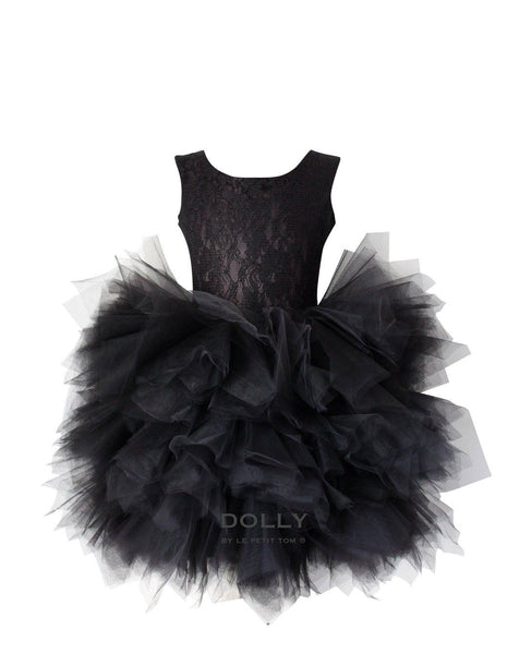 DOLLY by Le Petit Tom ®  the PIROUETTE DRESS in Black. A beautiful dress made of soft lace, satin and tulle. Available for rent from The Borrowed Boutique.