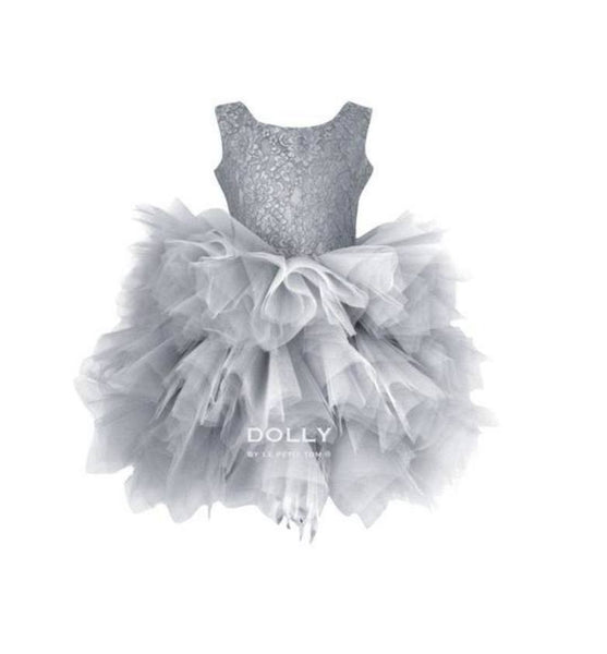 DOLLY by Le Petit Tom ®  the PIROUETTE DRESS in Silver Grey. A beautiful dress made of soft lace, satin and tulle.