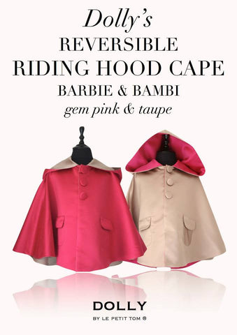 DOLLY by Le Petit Tom ® REVERSIBLE RIDING HOOD CAPE Barbie & Bambi in Gem Pink and Taupe.  Stunning reversible Cape with GEM PINK/ FUCHSIA ( Barbie) on one side and TAUPE (Bambi) on the other side. Available for rent from The Borrowed Boutique.