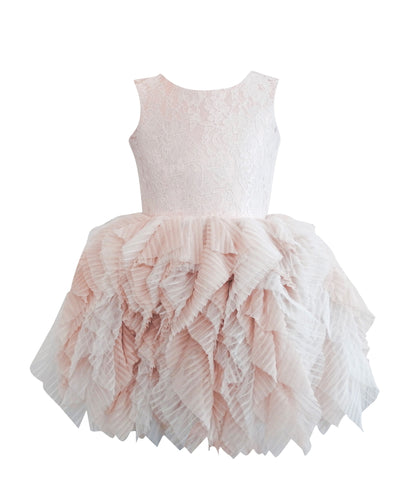 DOLLY by Le Petit Tom ® FANCIFUL DRESS in blush. Beautiful lace tutu dress made of soft lace, satin and a very special pleated tulle. Available for rent from The Borrowed Boutique.