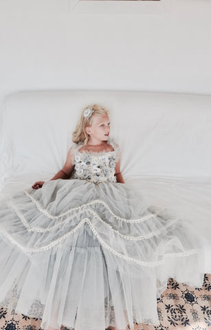 DOLLY by Le Petit Tom FOREST FAIRY Tutu Dress in Grey and Ivory