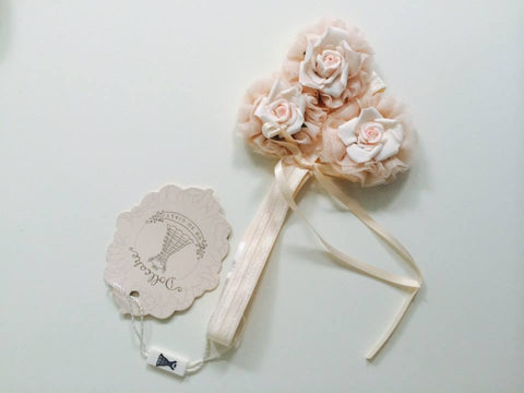 The perfect vintage headband with an elastic band for adaptable fit and three stunning rosettes. One size fits most but the sizing does work well for infants and toddlers. Available to rent from The Borrowed Boutique.