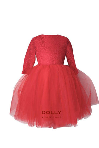 DOLLY by Le Petit Tom ®  the Waltz DRESS in Red.  A beautiful dress made of soft lace, satin and tulle.  This dress is from the LACED ATTITUDE COLLECTION. Available for rent from The Borrowed Boutique.