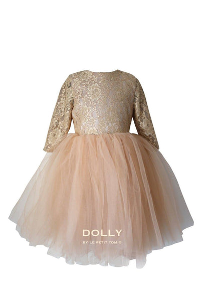 DOLLY by Le Petit Tom ®  the Waltz DRESS in Gold.  A beautiful dress made of soft lace, satin and tulle.  This dress is from the LACED ATTITUDE COLLECTION. Available for rent from The Borrowed Boutique.