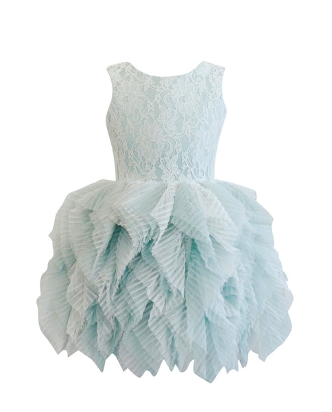DOLLY by Le Petit Tom ® FANCIFUL DRESS in green and off-white. Beautiful lace tutu dress made of soft lace, satin and a very special pleated tulle. Available for rent from The Borrowed Boutique.