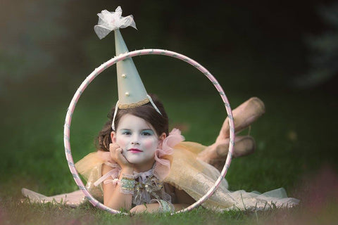 Inspiring duck egg custom clown/jester hat. Perfect for circus inspired photo shoots or parties. One size fits most. Available for rent from The Borrowed Boutique.