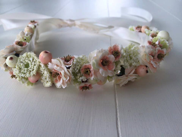 Custom Cream, Peach, and Pink Floral Halo. One Size Fits Most. Available for rent from The Borrowed Boutique.