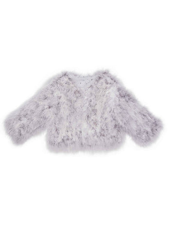 Tutu Du Monde Evija Marabou Jacket In Silverlining. Available for rent from The Borrowed Boutique.