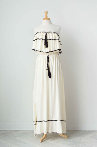 Fillyboo Little Wonder Strapless Maxi Dress In Cream