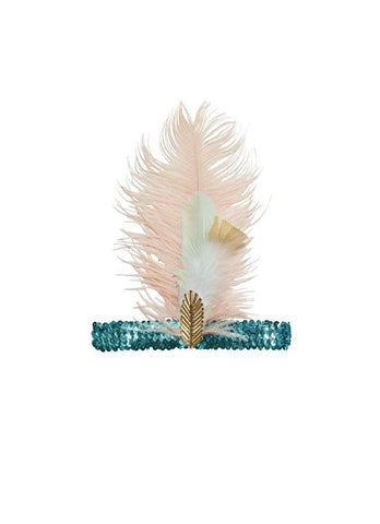 Tutu Du Monde Golden Kisses Feather Headband in Caribbean available for rent from The Borrowed Boutique.