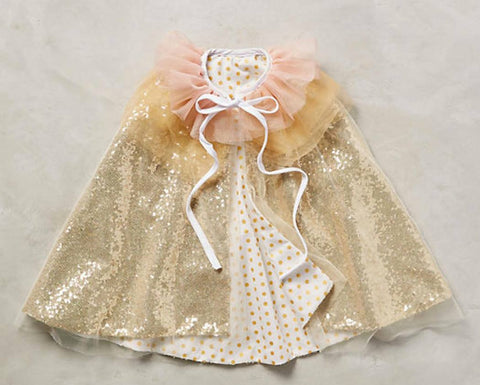 Circus Cape in gold sequin and polka dot. Pink ruffle collar. One size fits most. Available for rent from The Borrowed Boutique.