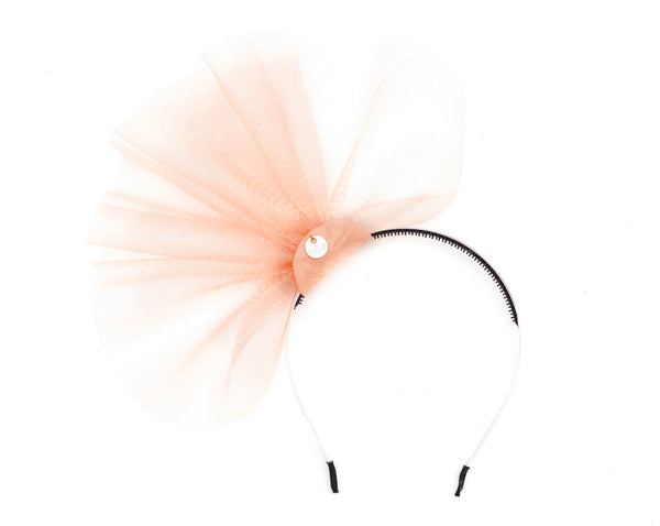 Halo Luxe Peach Duchess Headband available for rent from The Borrowed Boutique.