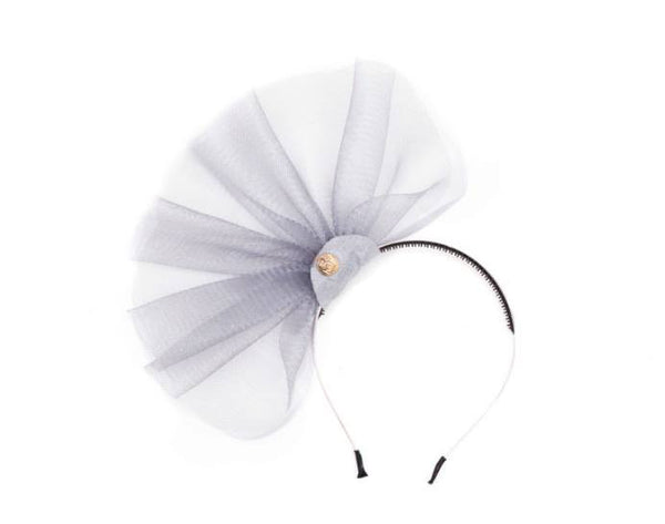 Halo Luxe Smoke Duchess Headband available for rent from The Borrowed Boutique.