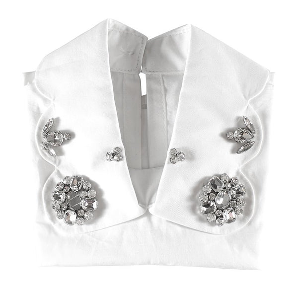 Halo Luxe White and Silver Embellished Scalloped Collar available for rent from The Borrowed Boutique.