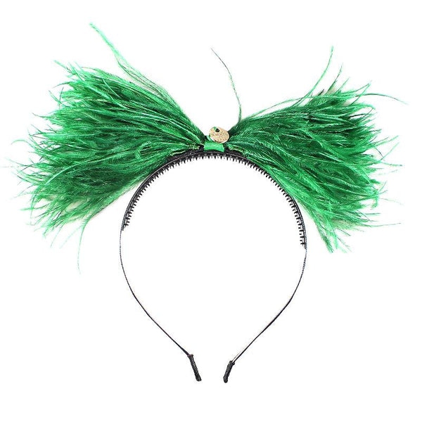 Halo Luxe Emerald Green Ostrich Twist Headband available for rent from The Borrowed Boutique.