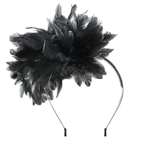 Halo Luxe Ebony Peacock Pouf Headband available for rent from The Borrowed Boutique.