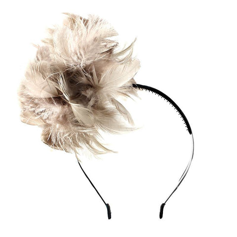 Halo Luxe Mocha Peacock Pouf Headband available for rent from The Borrowed Boutique.