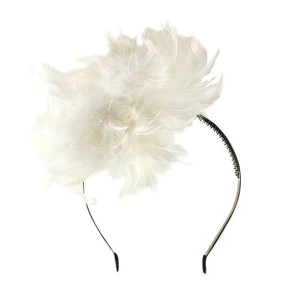 Halo Luxe Pearl Peacock Pouf Headband available for rent from The Borrowed Boutique.
