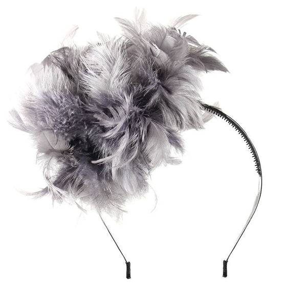 Halo Luxe Slate Peacock Pouf Headband available for rent from The Borrowed Boutique.