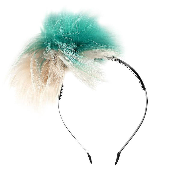 Halo Luxe Veridian Pom Wisp Headband available for rent from The Borrowed Boutique.