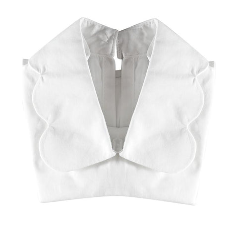 Halo Luxe White Scalloped Collar available for rent from The Borrowed Boutique.