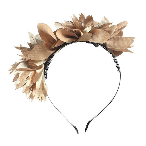 Halo Luxe Taupe Stella Headband available for rent from The Borrowed Boutique.
