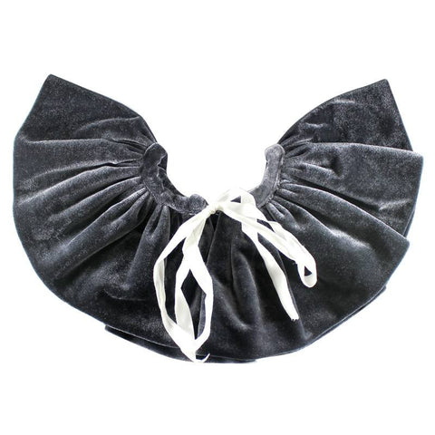 Halo Luxe Charcoal Velveteen Bon Bon Collar. A Velvet ruffle collar in dark grey to add the perfect combination of class and edge to any ensemble. Available for rent from The Borrowed Boutique.